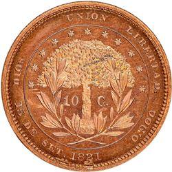 Honduras (struck at the Philadelphia mint), copper proof 10 centavos pattern, 1871, plain edge, rare
