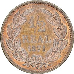 """Honduras (struck in Paris), copper proof 1/2 real pattern, 1871-A (BARRE), rare, NGC PF 65 RB (""""top"""