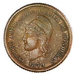 Honduras, bronze 1 centavo, 1879, rare, PCGS XF detail / graffiti.