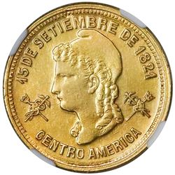 Honduras, gold 5 pesos, 1895/85, rare, NGC AU 58, finest known in NGC census.