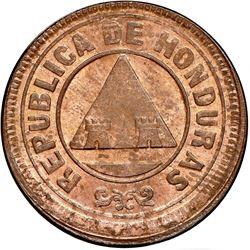 "Honduras, bronze 2 centavos, 1910, denomination as CENTAVOS, NGC MS 64 RB (""top pop""), ex-Dana Rober"