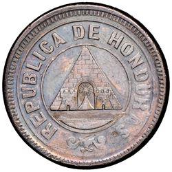 Honduras, bronze 1 centavo, 1889, medal rotation, NGC AU 50 BN, ex-O'Brien.