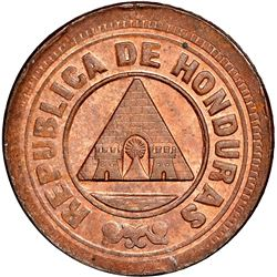 Honduras, bronze 1 centavo, 1890, denomination 1, NGC MS 63 RB, finest known in NGC census, ex-O'Bri