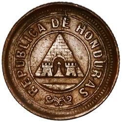 Honduras, bronze 1 centavo, 1893/83, denomination UN/10, no wreath, NGC AU 55 BN, ex-O'Brien.
