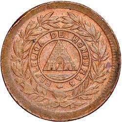 Honduras, bronze 1 centavo, 1893/83, denomination UN/10, wreath type, REPLBLICA error, NGC MS 61 BN,
