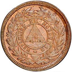 Honduras, bronze 1 centavo, 1908, wreath type, denomination UN/10, REPLBLICA error, rotated axis, ra