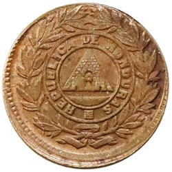 Honduras, bronze 1 centavo, 1910, modified 5c obverse and reverse dies, PCGS MS62 BN.