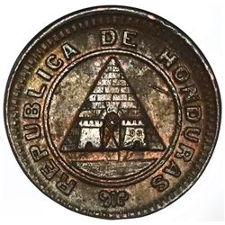 Honduras, bronze 1 centavo, 1910, 1/2 centavo obverse with modified 5 centavos reverse, NGC UNC deta
