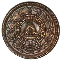 Honduras, bronze 1 centavo, 1910, 5 centavos obverse and 1/2 centavo reverse, NGC MS 64 BN, finest k
