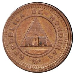 Honduras, bronze 1/2 centavo, 1881, very rare, PCGS AU58.