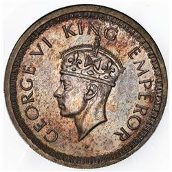 Lahore, India (British), silver original proof 1/2 rupee, George VI, 1943-L, very rare, PCGS PR65, f