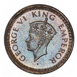 Lahore, India (British), silver original proof 1/4 rupee, George VI, 1943-L, very rare, PCGS PR64, f