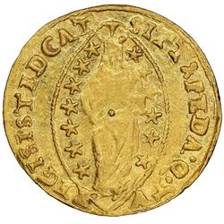 Venice (Italian States), gold zecchino, Pasquale Cicogna (1585-95), NGC UNC details / cleaned.