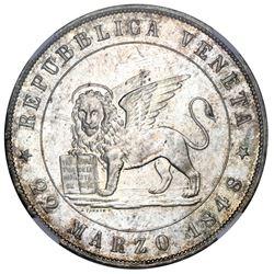 Venice (Italian States), 5 lire, 1848V, Venice revolution, NGC MS 65.