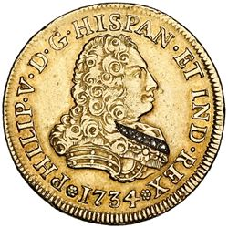 Mexico City, Mexico, bust 4 escudos, Philip V, 1734MF/F (unlisted), with six embedded diamonds.