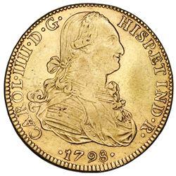 Mexico City, Mexico, bust 8 escudos, Charles IV, 1798FM.