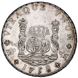 Mexico City, Mexico, pillar 8 reales, Ferdinand VI, 1758MM, ex-Jones (Plate and Cover Coin).