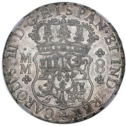 Mexico City, Mexico, pillar 8 reales, Charles III, 1760MM, NGC MS 62.