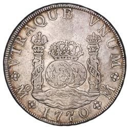 Mexico City, Mexico, pillar 8 reales, Charles III, 1770FM, ex-Jones.