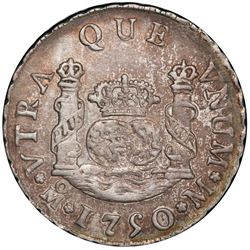 Mexico City, Mexico, pillar 2 reales, Ferdinand VI, 1750M, PCGS AU55.