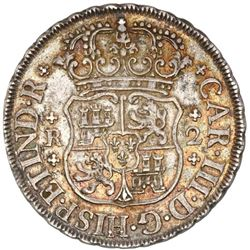 Mexico City, Mexico, pillar 2 reales, Charles III, 1760M, PCGS AU58.