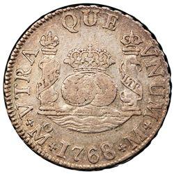 Mexico City, Mexico, pillar 2 reales, Charles III, 1768/6M, very rare, PCGS XF45.