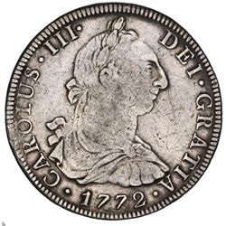 Mexico City, Mexico, bust 8 reales, Charles III, 1772MF, initials facing rim.