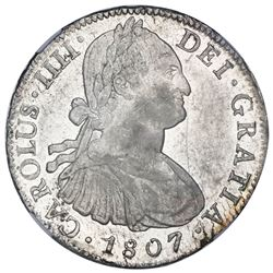 Mexico City, Mexico, bust 8 reales, Charles IV, 1807TH, NGC MS 61.