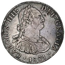 Mexico City, Mexico, bust 4 reales, Charles IV, 1801FT.