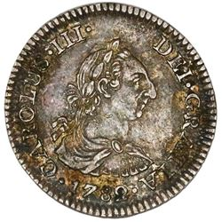 Mexico City, Mexico, bust 1/2 real, Charles III, 1782FF, PCGS AU53.