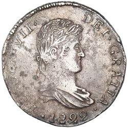 Durango, Mexico, bust 8 reales, Ferdinand VII, 1822CG, NGC XF 40, ex-Jones.