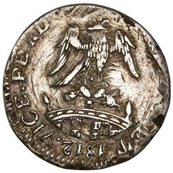 Tlalpujahua (Supreme National Congress), Mexico, 1 real, Ferdinand VII, 1812 (inward-facing date), s