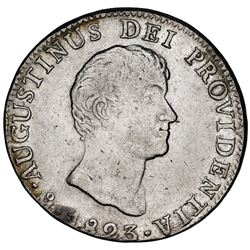 Mexico City, Mexico, 8 reales, Iturbide, 1823JM, variety with short, uneven truncation of bust, ex-J