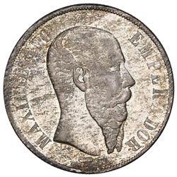 Mexico City, Mexico, 1 peso, Maximilian, 1867, ex-Jones.