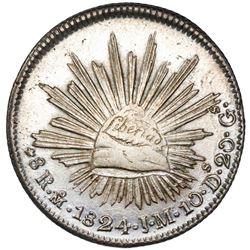 "Mexico City, Mexico, cap-and-rays 8 reales ""hookneck,"" 1824JM, NGC AU 58, ex-Jones."
