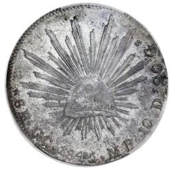 Guadalupe y Calvo, Mexico, cap-and-rays 8 reales, 1845MP, small round cap / round tail variety (rare