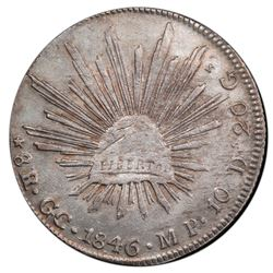 Guadalupe y Calvo, Mexico, cap-and-rays 8 reales, 1846MP, small round cap / round tail variety (rare