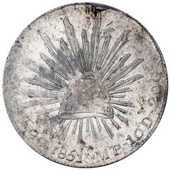 Guadalupe y Calvo, Mexico, cap-and-rays 8 reales, 1851MP, rare, PCGS AU detail / cleaned.