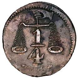 Michoacan, Mexico, bronze 1/4 real token, 1846, Hacienda de Santa Efigenia, rare.