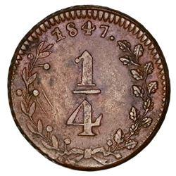 Michoacan, Mexico, bronze 1/4 real token, 1847, Hacienda San Rafael, rare.