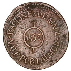 Michoacan, Mexico, bronze 1 almud token, 1855, Hacienda de Buena Vista, Raciones de Maiz, rare.
