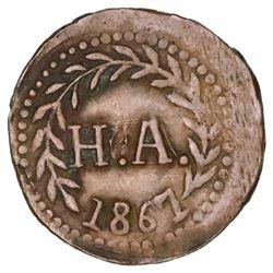 Jalisco, Mexico, bronze token, no denomination, H.A., 1867, Hacienda del Carmen.