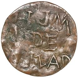 Campeche, Mexico, bronze 1/4 real token, 1875, H.J.M. de Palizada, NGC VF 25 BN, ex-Norweb (stated o