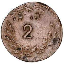 Jalisco, Mexico, bronze 2 almudes token, Apoloni Ochoa, ca. 1890.