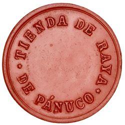 "Mexico/Sweden (mule), red vulcanite token, Tienda de Raya de Panuco / Malmo Angkok, denomination ""35"