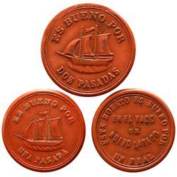 Lot of three Nuevo Laredo, Mexico, orange vulcanite boat passes (ca. 1900): 1 real / 12-1/2 centavos