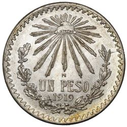 Mexico City, Mexico, 1 peso, 1919, NGC MS 62, ex-Jones.