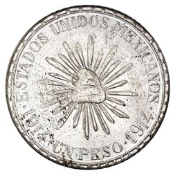 "Cuencame, Durango, Mexico, 1 peso, 1914, ""Muera Huerta,"" dot-and-dash border, NGC MS 65, ex-Jones."
