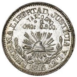 Taxco, Guerrero, Mexico, 1 peso, 1915, star before G and denomination, NGC AU 58, ex-Jones.