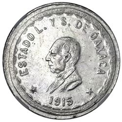 Oaxaca, Mexico, 2 pesos provisional, 1915TM, denomination 2 with interior lines, NGC MS 61, ex-Jones